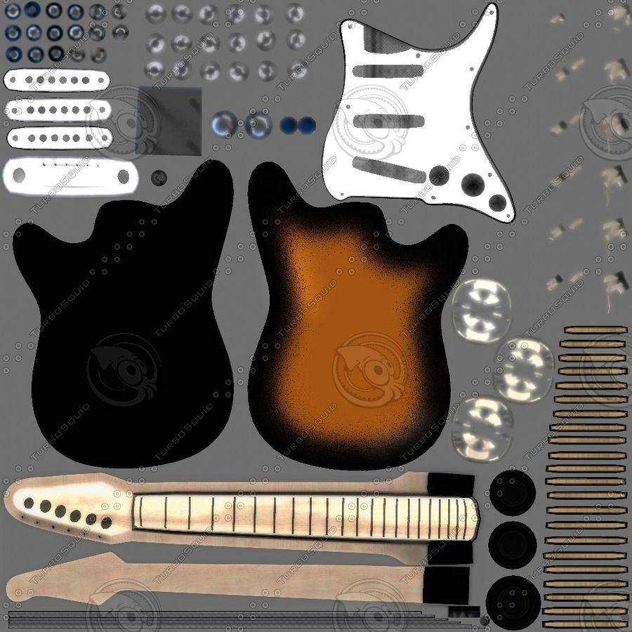 Guitars royalty-free 3d model - Preview no. 10