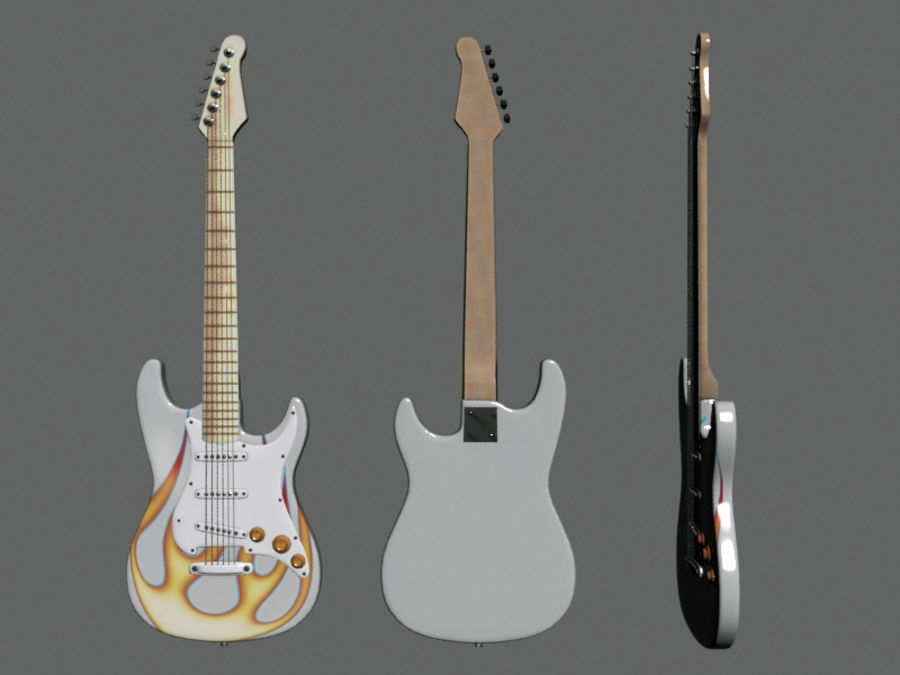 Guitars royalty-free 3d model - Preview no. 7