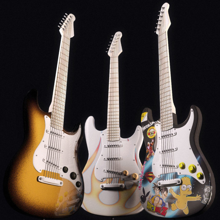Guitars royalty-free 3d model - Preview no. 1