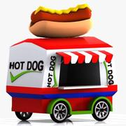 Cartoon Hot Dog Cart 3d model