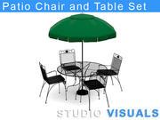 Cadeira de pátio e conjunto de mesa 3d model