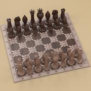 체스 세트 빈티지 3d model