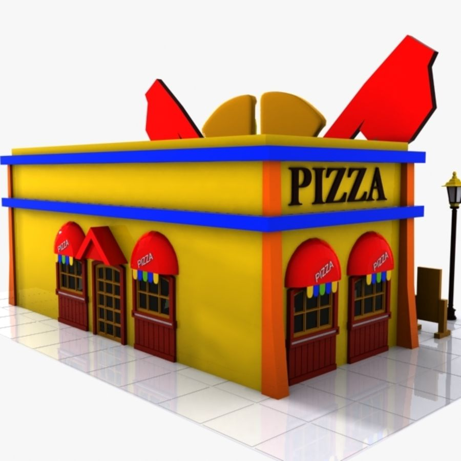 Cartoon Pizza Restaurant royalty-free 3d model - Preview no. 5