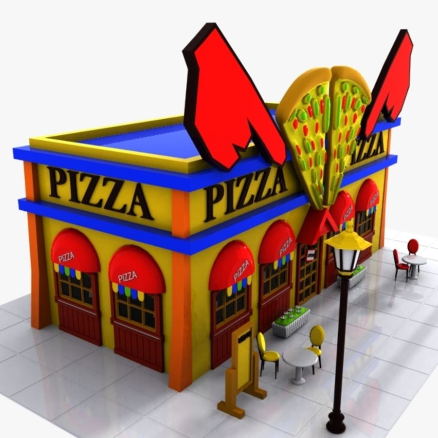 Cartoon Pizza Restaurant royalty-free 3d model - Preview no. 4