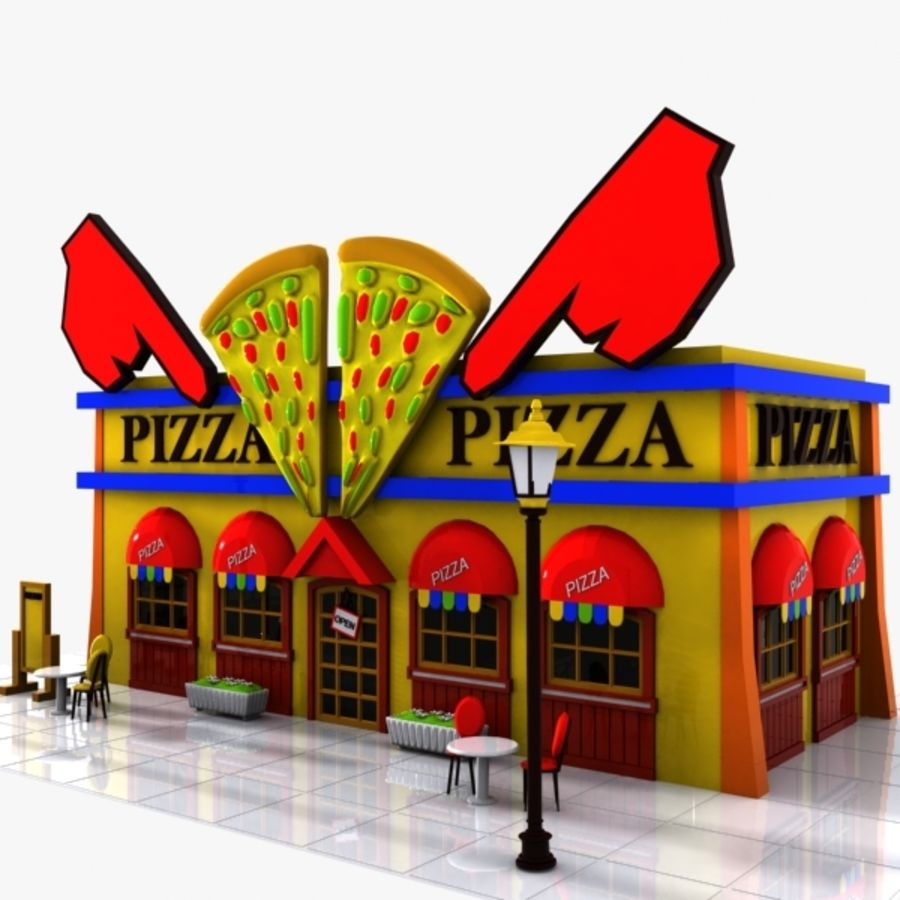 Cartoon Pizza Restaurant royalty-free 3d model - Preview no. 3