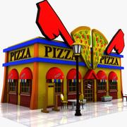 Cartoon Pizza Restaurant 3d model
