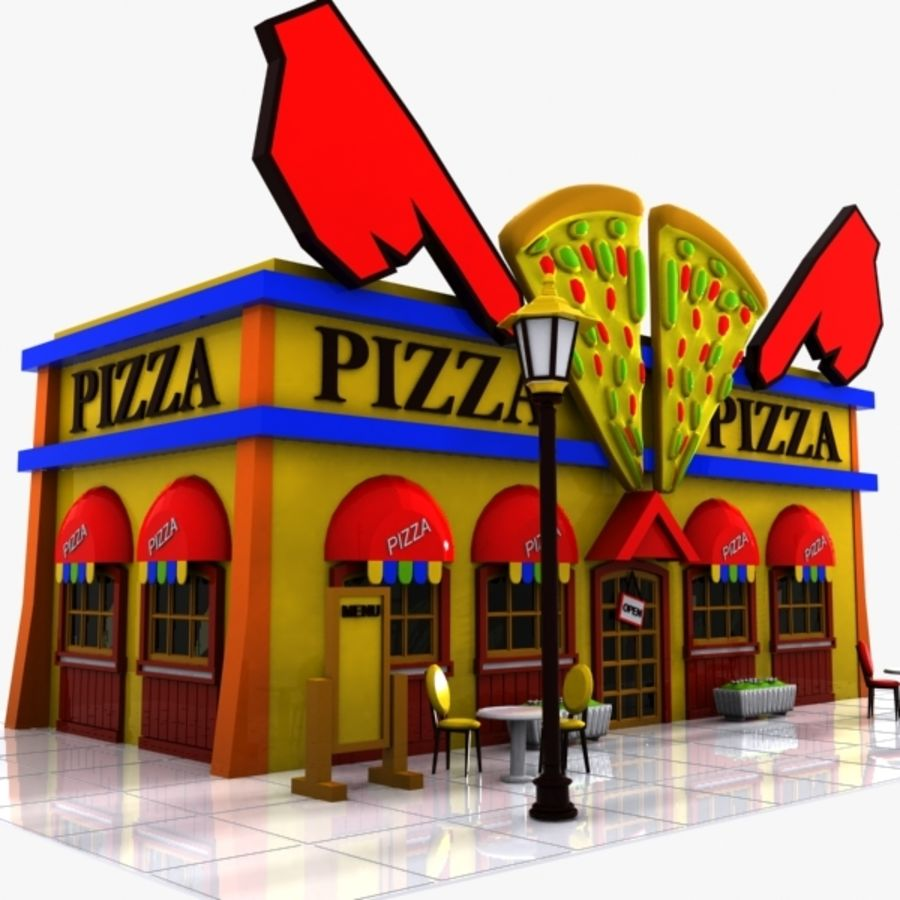 Cartoon Pizza Restaurant royalty-free 3d model - Preview no. 1