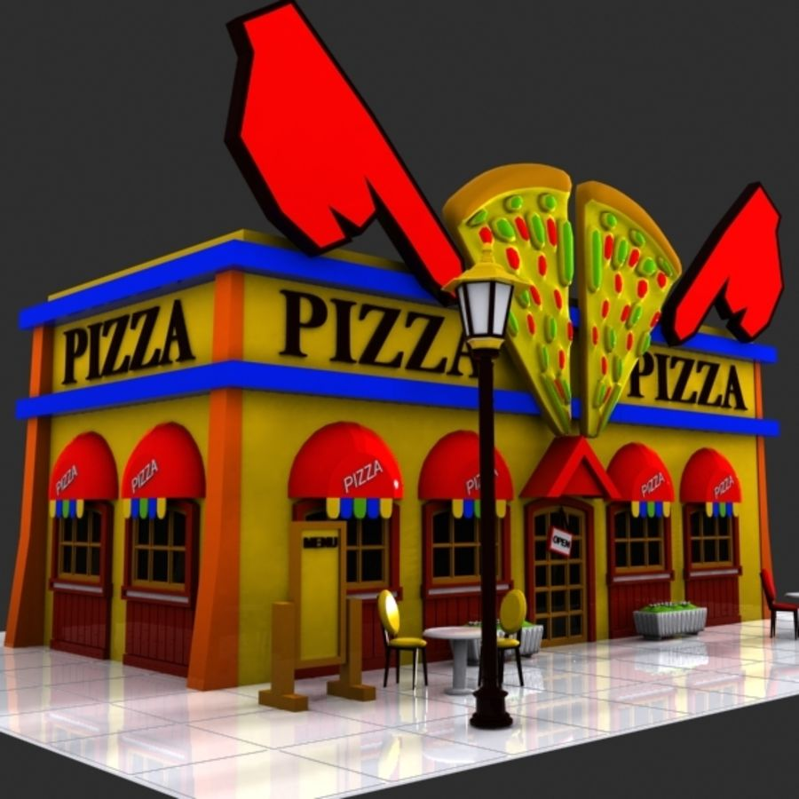 Cartoon Pizza Restaurant royalty-free 3d model - Preview no. 2