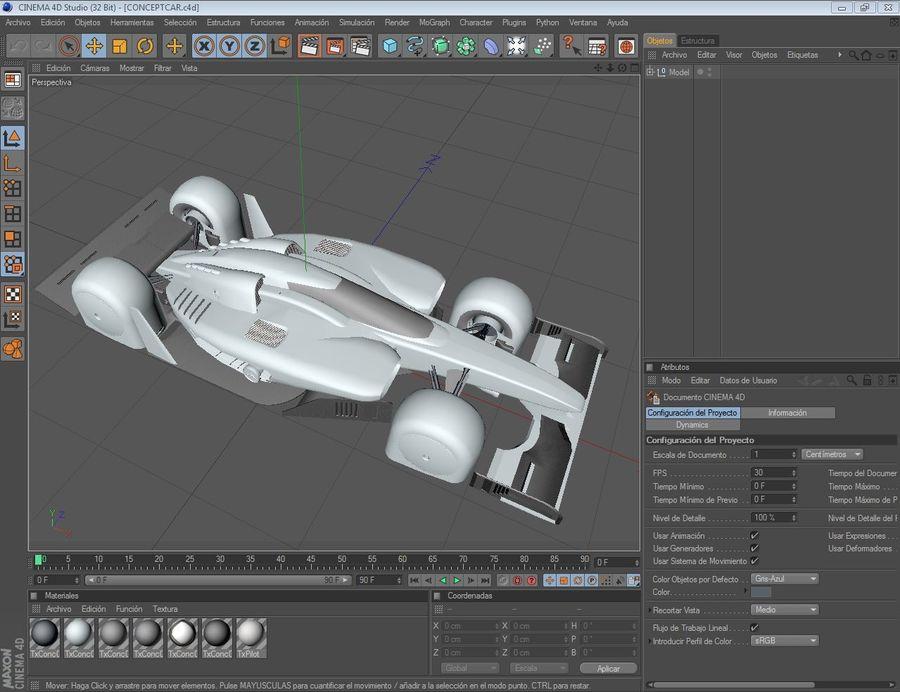 Race car concept 3D Model $19 -  max  skp  obj  fbx  dae  c4d  3ds