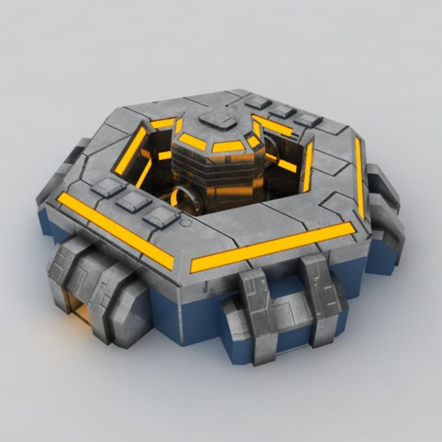 Command center sci-fi building royalty-free 3d model - Preview no. 3