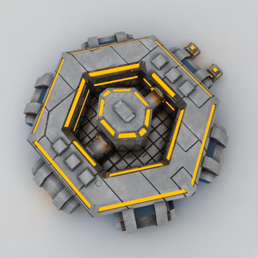 Command center sci-fi building royalty-free 3d model - Preview no. 4