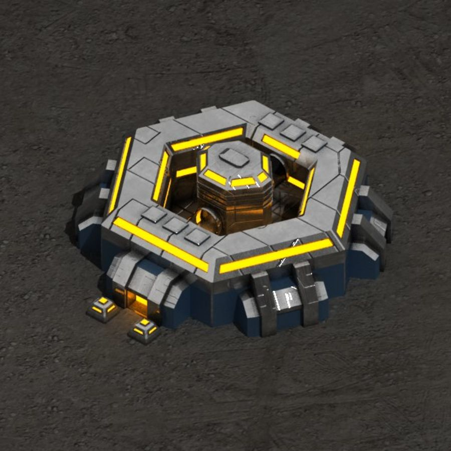Command center sci-fi building royalty-free 3d model - Preview no. 1