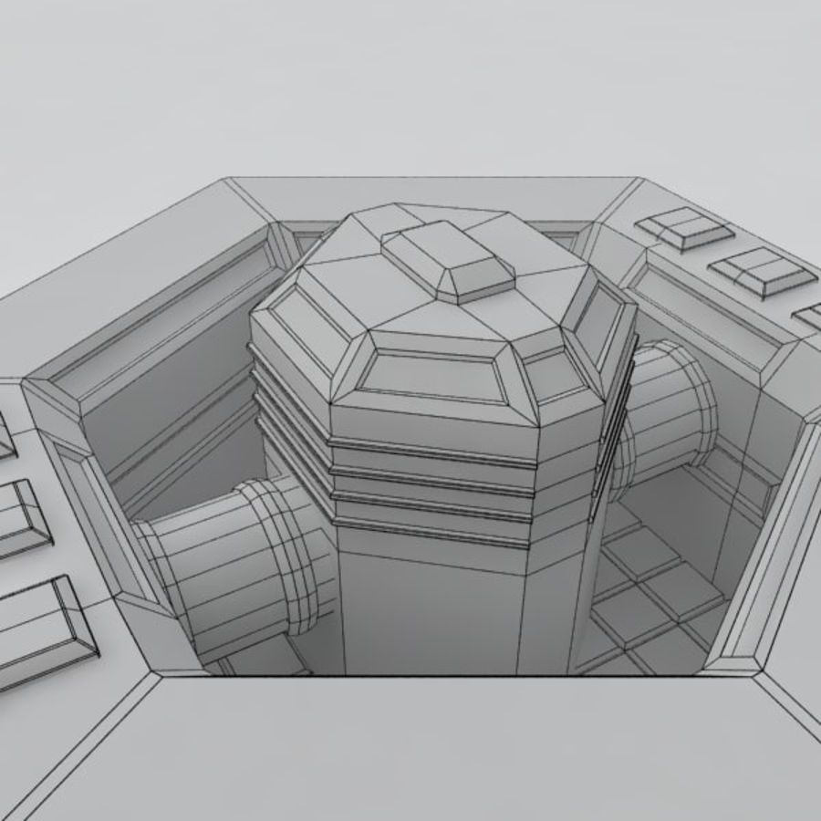 Command center sci-fi building royalty-free 3d model - Preview no. 8