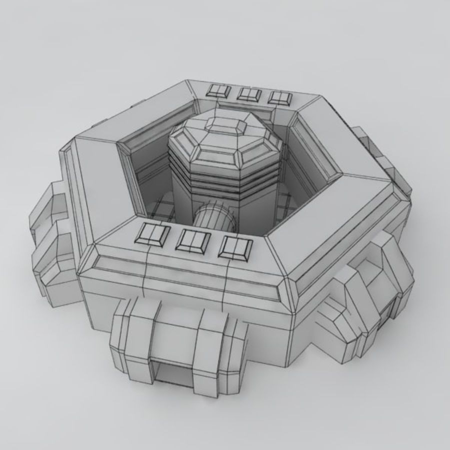 Command center sci-fi building royalty-free 3d model - Preview no. 7