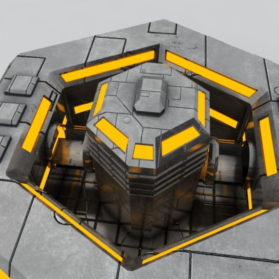 Command center sci-fi building royalty-free 3d model - Preview no. 5