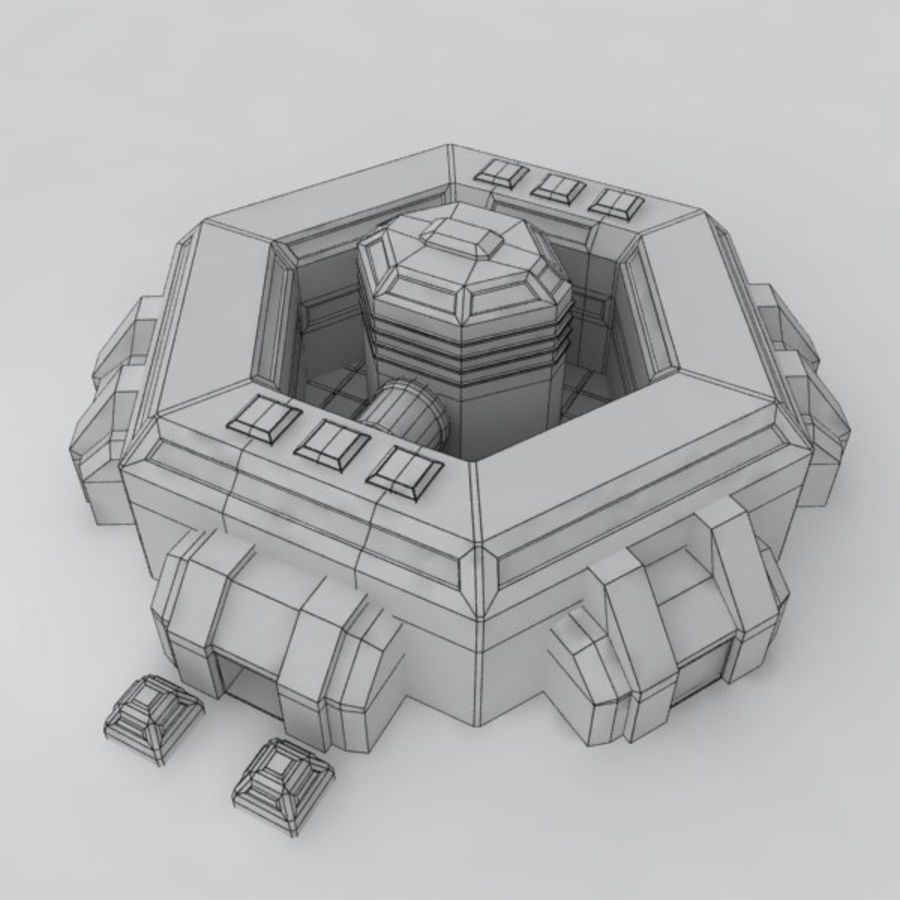 Command center sci-fi building royalty-free 3d model - Preview no. 6