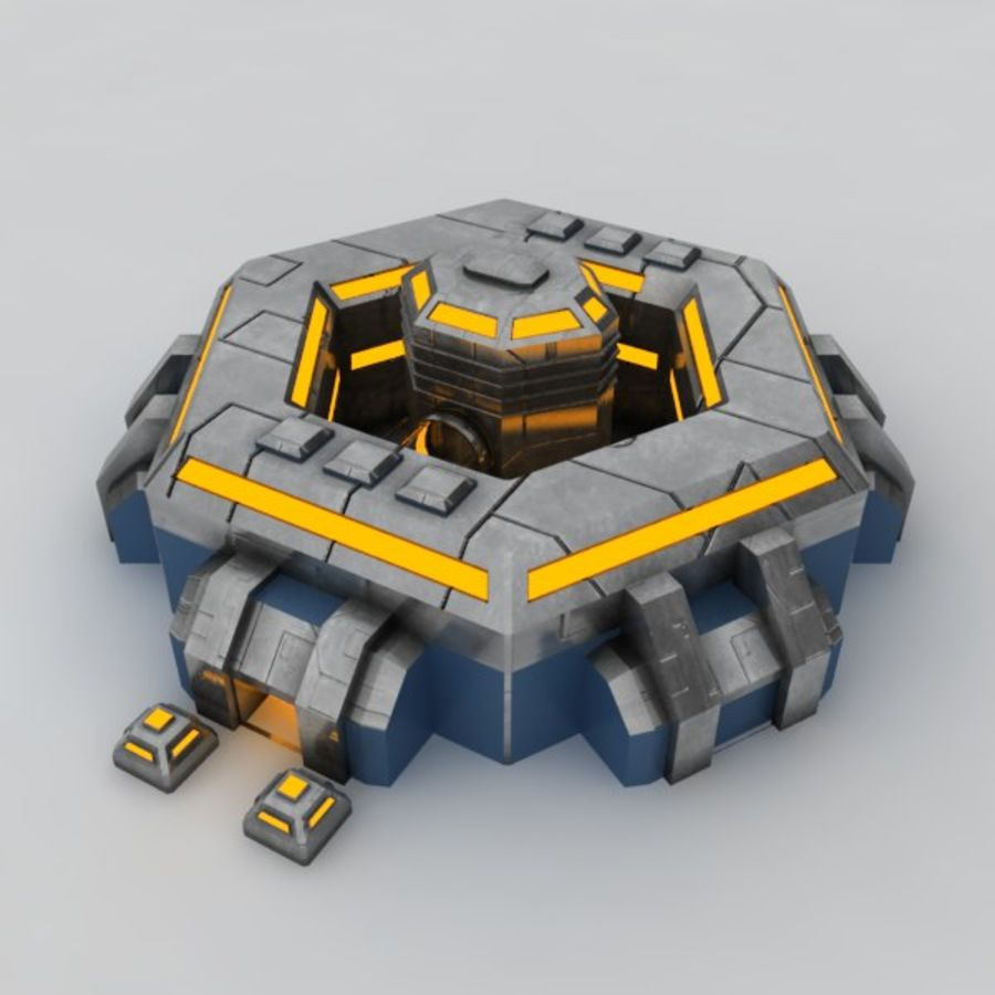 Command center sci-fi building royalty-free 3d model - Preview no. 2
