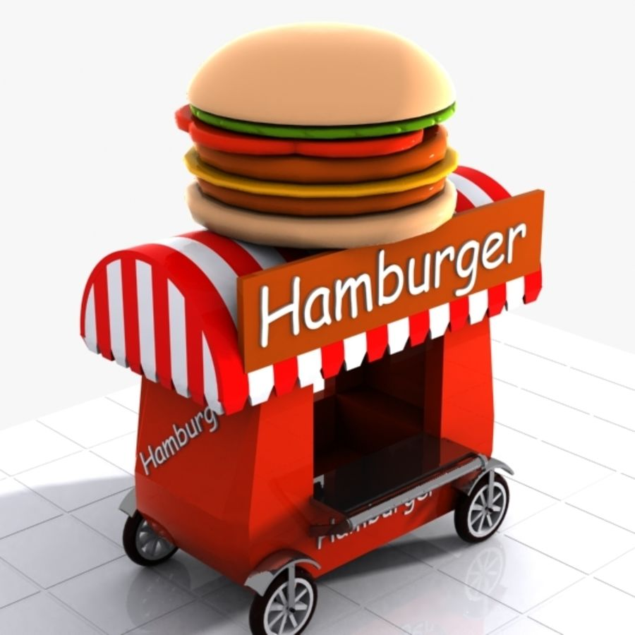 Cartoon Hamburger Cart royalty-free 3d model - Preview no. 3