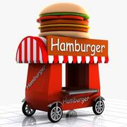 Cartoon Hamburger Cart 3d model