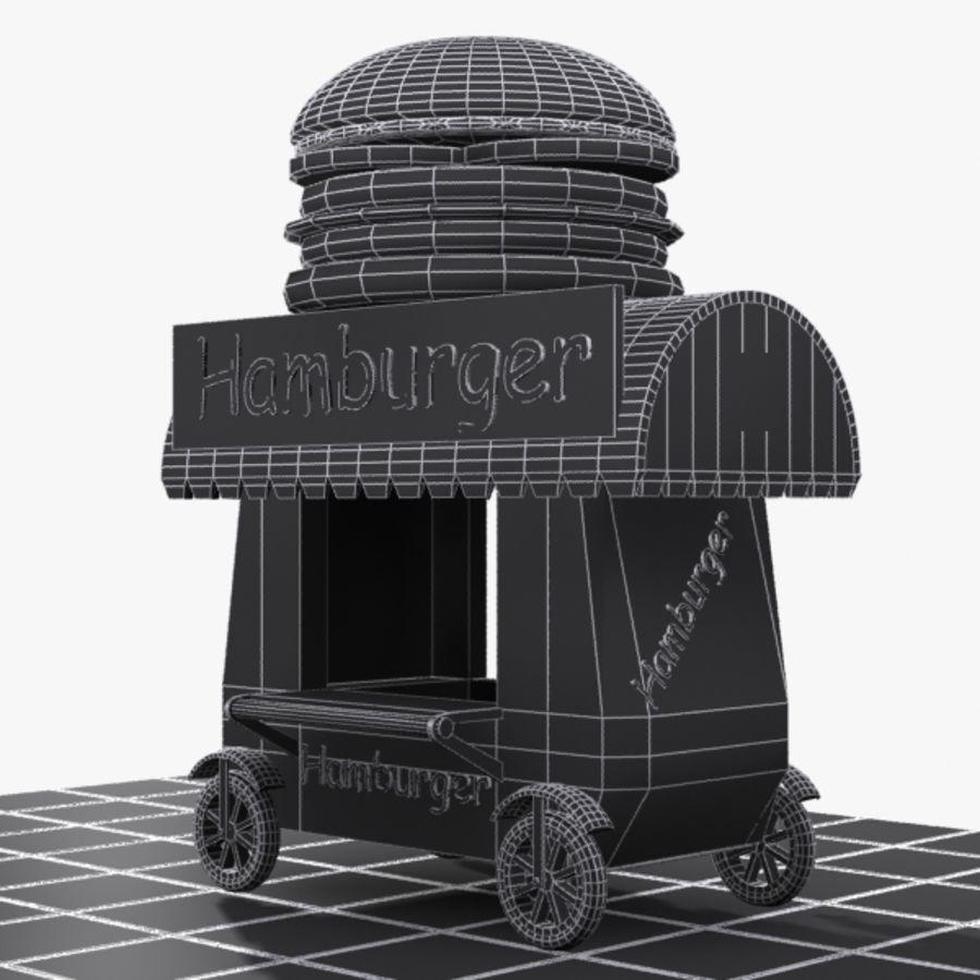 Cartoon Hamburger Cart royalty-free 3d model - Preview no. 8