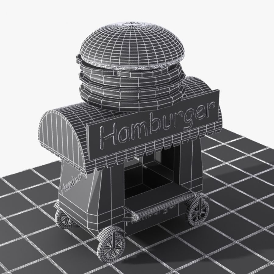 Cartoon Hamburger Cart royalty-free 3d model - Preview no. 10