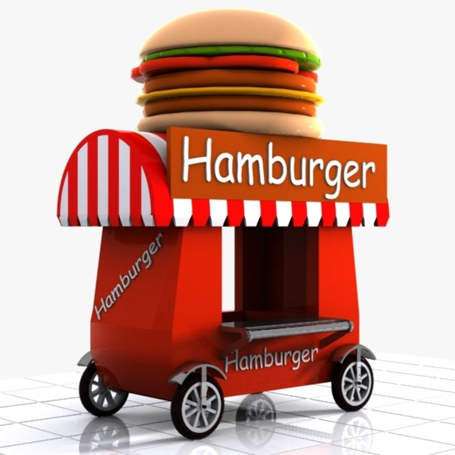Cartoon Hamburger Cart royalty-free 3d model - Preview no. 1