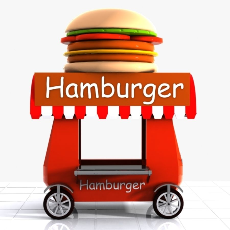 Cartoon Hamburger Cart royalty-free 3d model - Preview no. 4