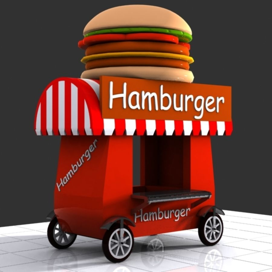 Cartoon Hamburger Cart royalty-free 3d model - Preview no. 2