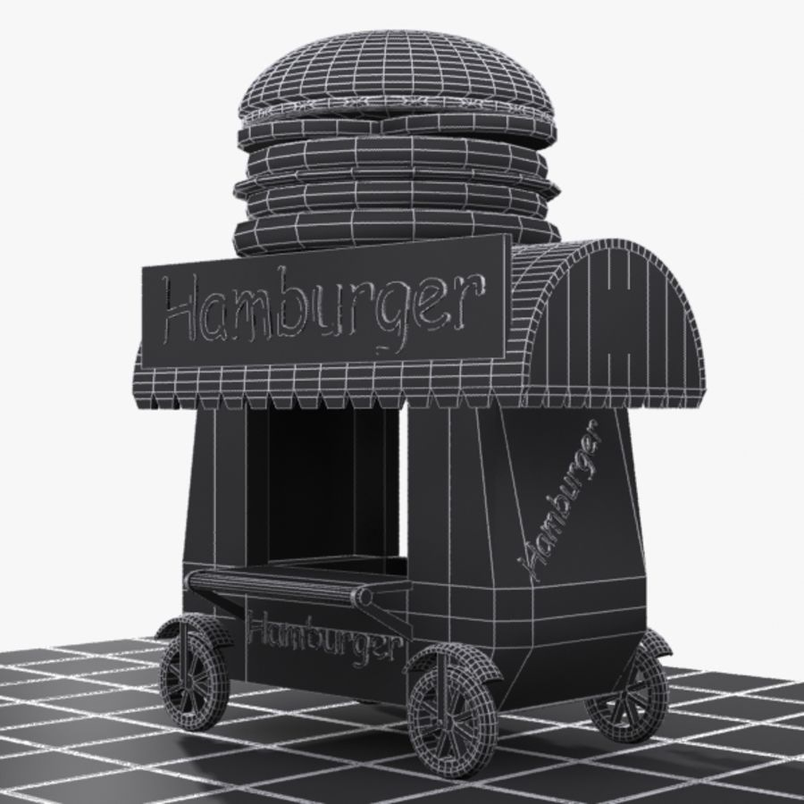Cartoon Hamburger Cart royalty-free 3d model - Preview no. 8