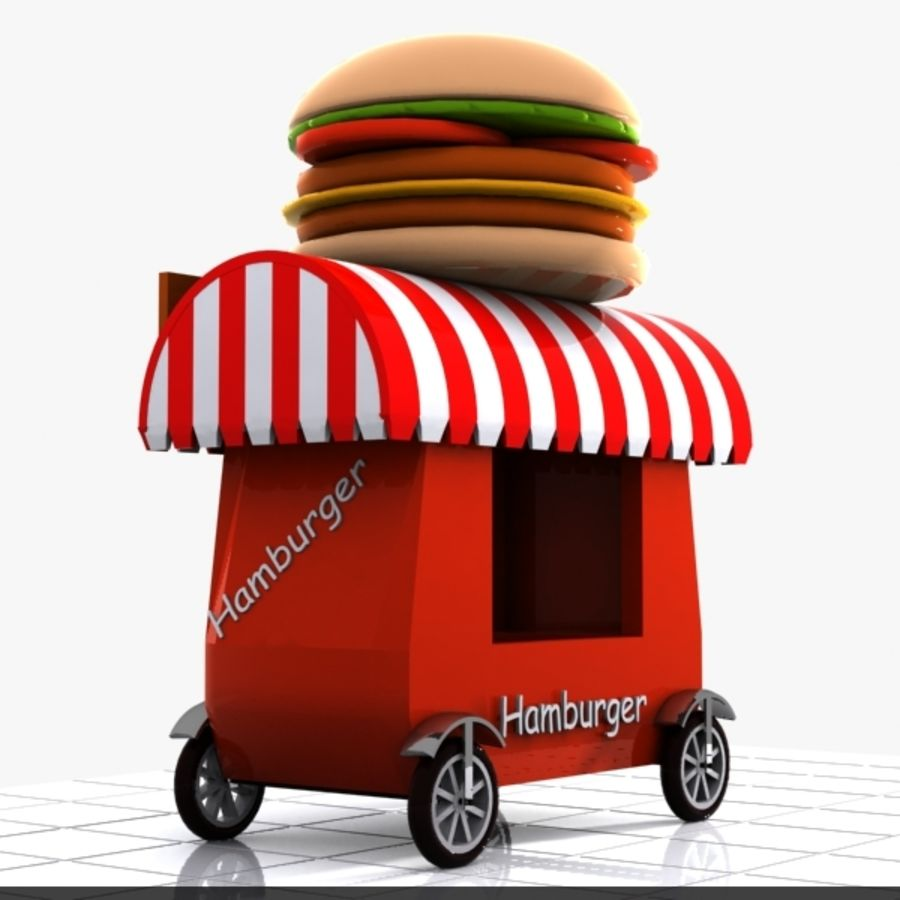 Cartoon Hamburger Cart royalty-free 3d model - Preview no. 7