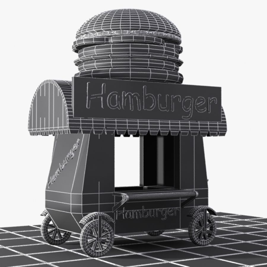 Cartoon Hamburger Cart royalty-free 3d model - Preview no. 9