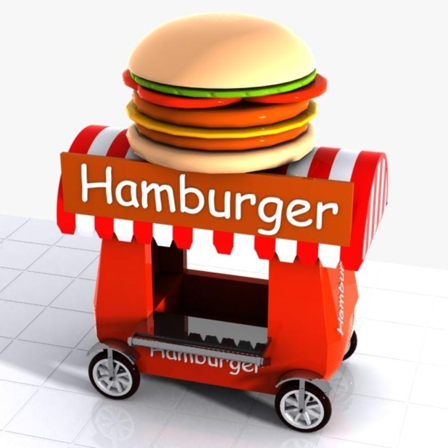 Cartoon Hamburger Cart royalty-free 3d model - Preview no. 5