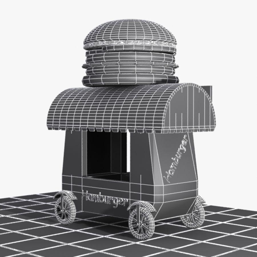 Cartoon Hamburger Cart royalty-free 3d model - Preview no. 11