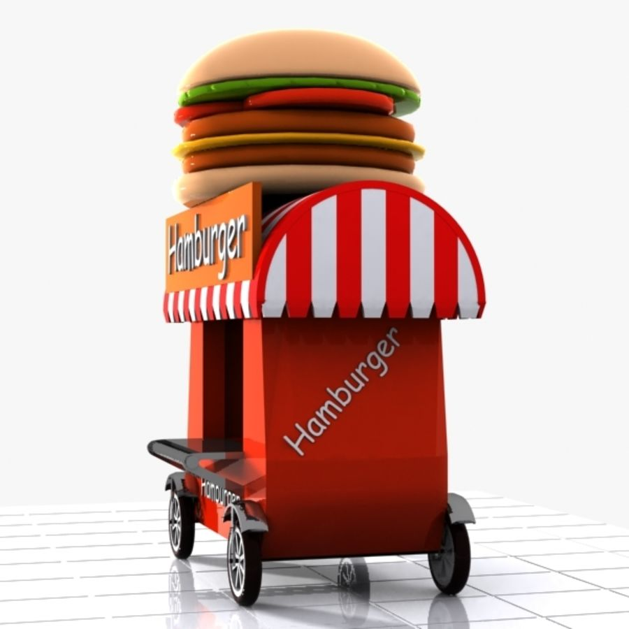 Cartoon Hamburger Cart royalty-free 3d model - Preview no. 6