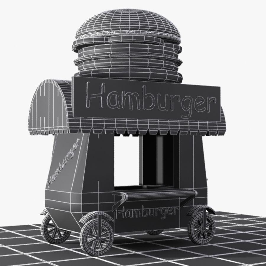 Cartoon Hamburger Cart royalty-free 3d model - Preview no. 9