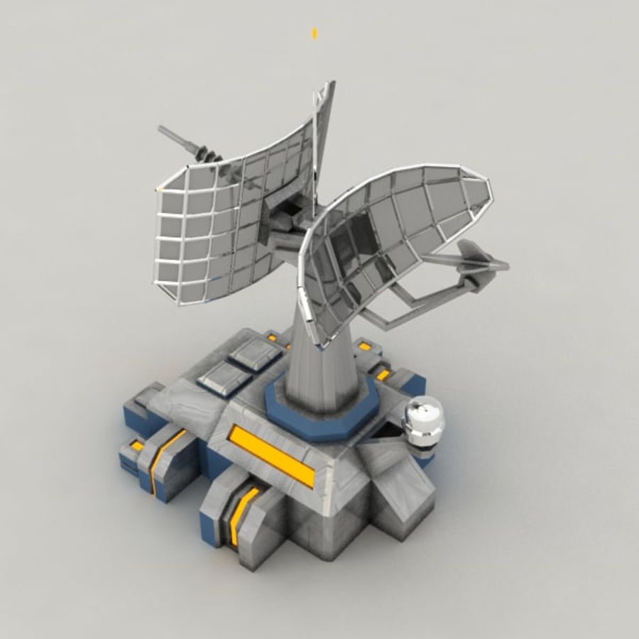 Communication center sci-fi building royalty-free 3d model - Preview no. 3