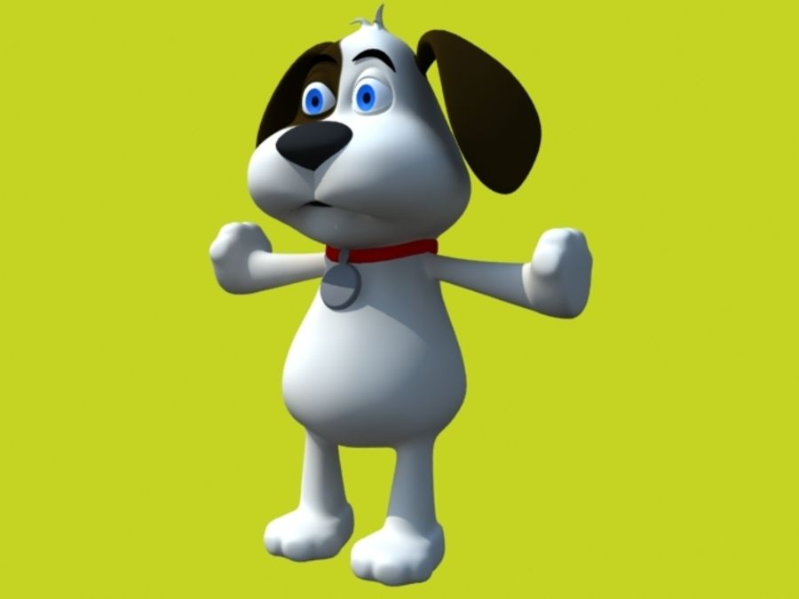 cartoon dog with accessories royalty-free 3d model - Preview no. 1
