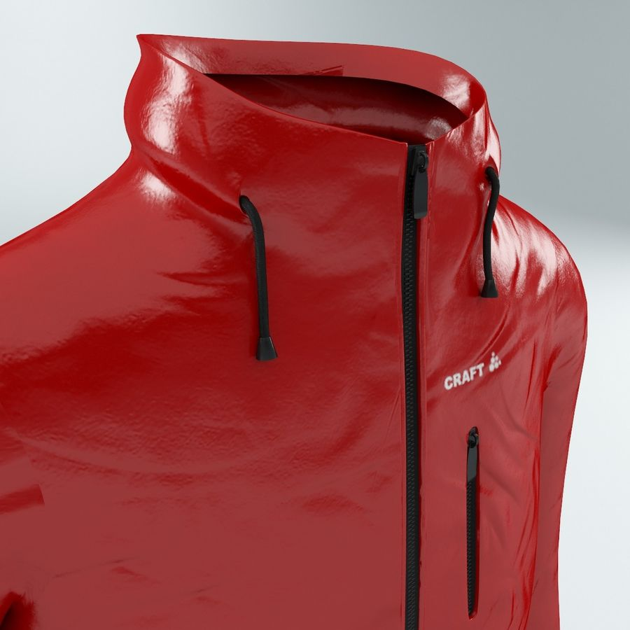 Red Craft Jacket royalty-free 3d model - Preview no. 3
