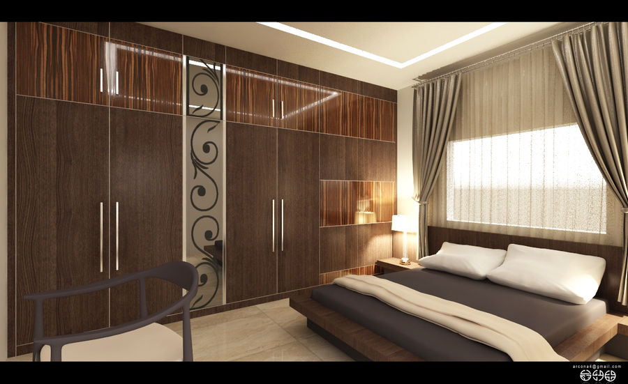 modern bedroom royalty-free 3d model - Preview no. 2