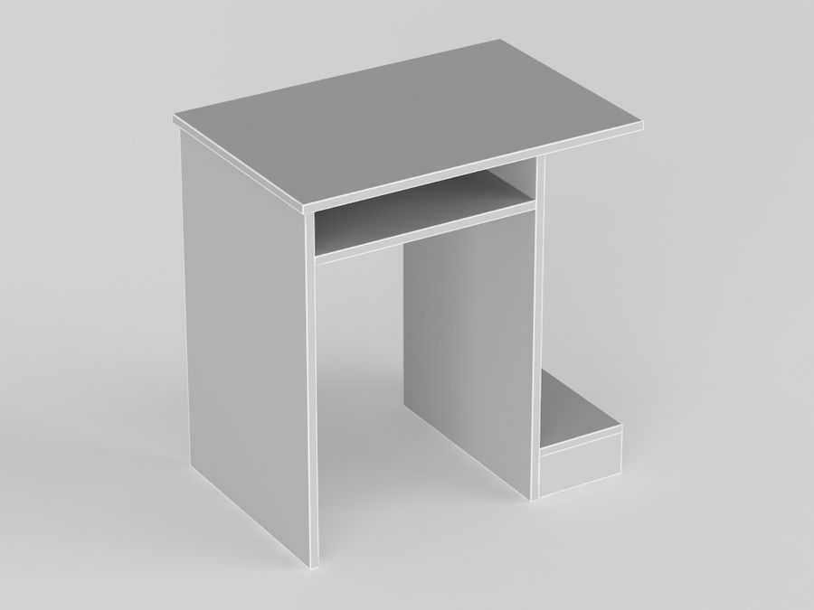 Pc table,desk royalty-free 3d model - Preview no. 4