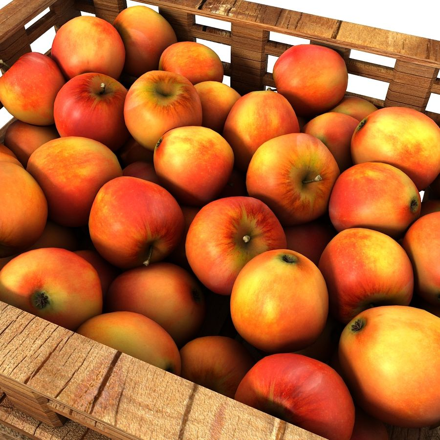 Apple Market Wood Crates royalty-free 3d model - Preview no. 12