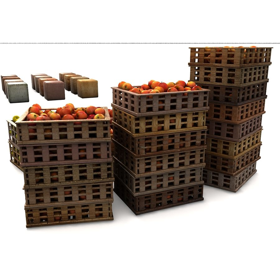 Apple Market Wood Crates royalty-free 3d model - Preview no. 21