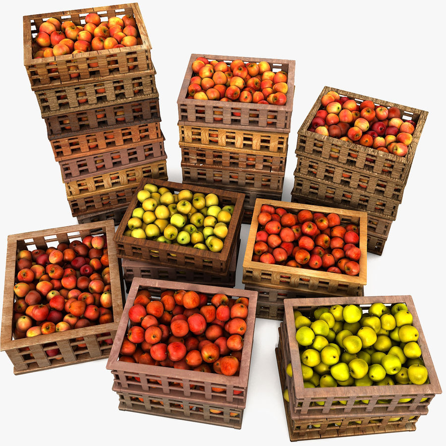 Apple Market Wood Crates royalty-free 3d model - Preview no. 1