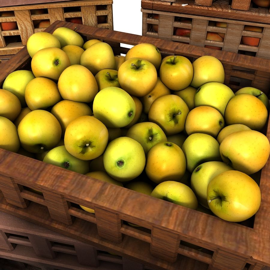 Apple Market Wood Crates royalty-free 3d model - Preview no. 4