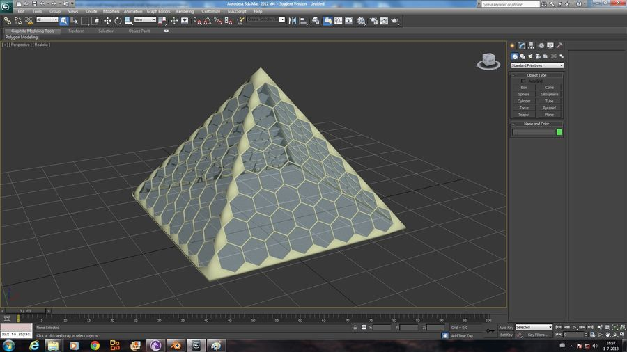small hexagon pyramid royalty-free 3d model - Preview no. 4