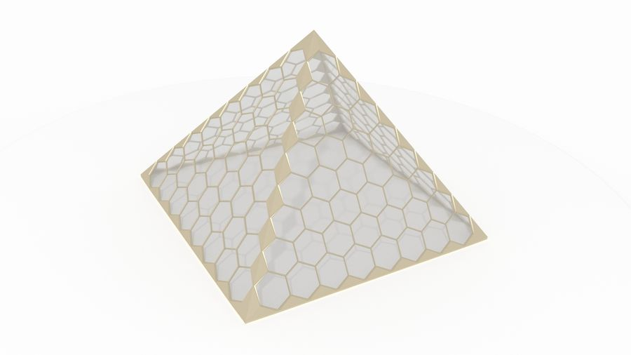 small hexagon pyramid royalty-free 3d model - Preview no. 2