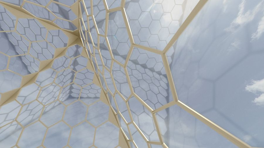 small hexagon pyramid royalty-free 3d model - Preview no. 1