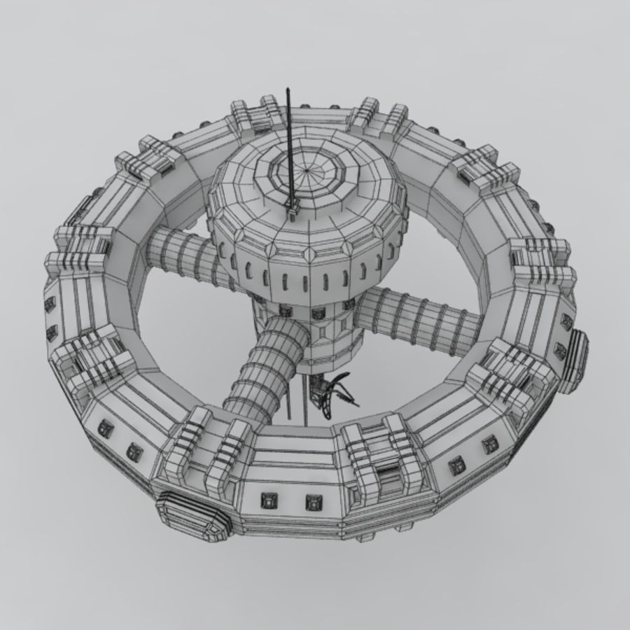Sci-fi orbital station royalty-free 3d model - Preview no. 3