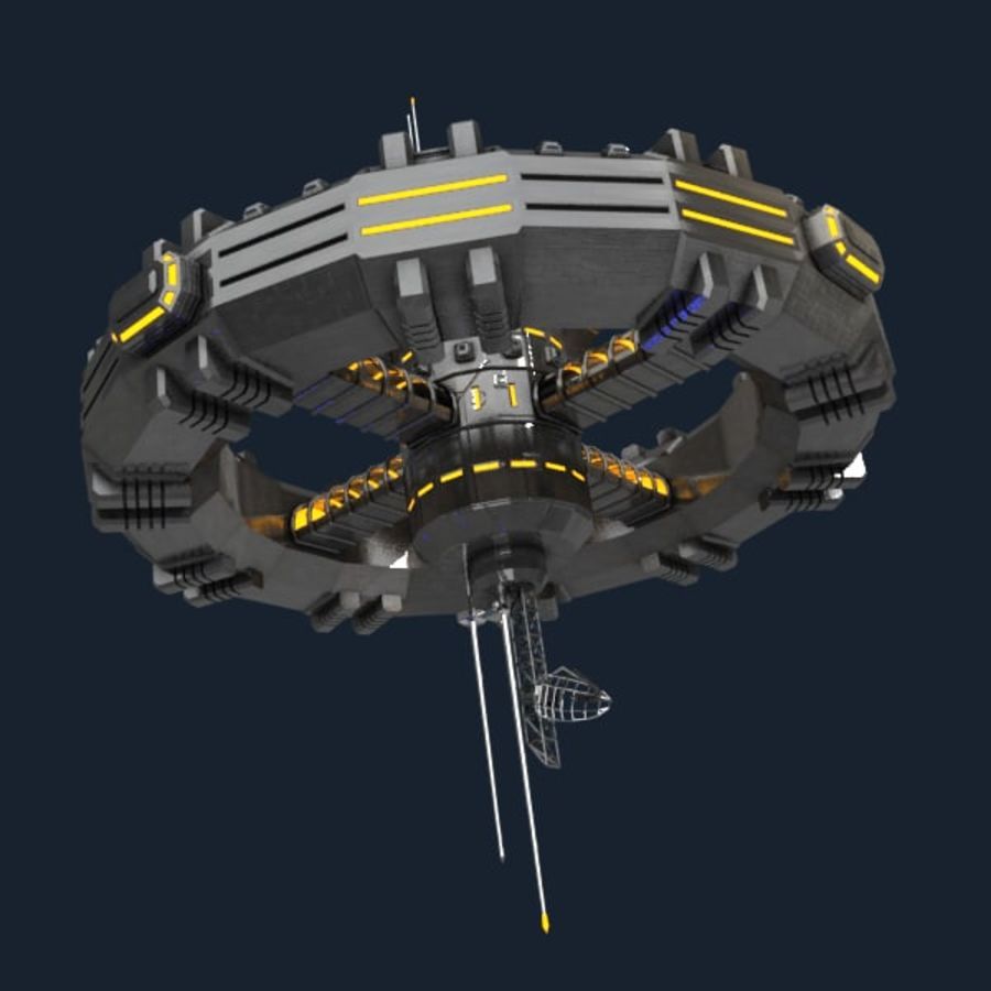 Sci-fi orbital station royalty-free 3d model - Preview no. 2