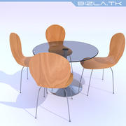 Glass Table and Wooden Chairs 3d model